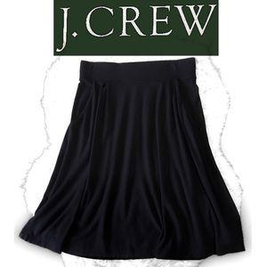 J.Crew Black Midi Swing Skirt~Pockets~Pull On~XS